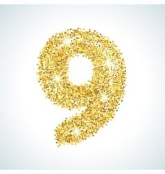 Nine number in golden style vector image