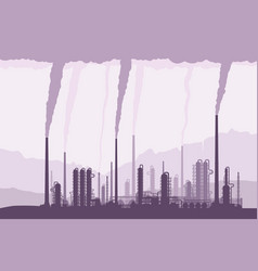 Oil and gas refinery owith smoking chimneys vector