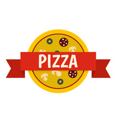 Pizza badge with red ribbon icon isolated vector