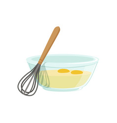 Raw eggs in a glass bowl and whisk for whipping vector