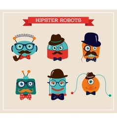 Set of cute retro hipster robots heads vector