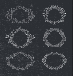 Set of hand drawn frames floral vintage vector image vector image