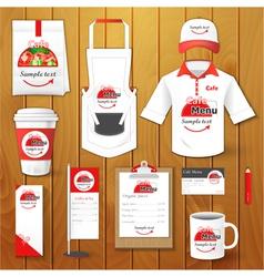 Set of restaurant corporate identity uniform vector image
