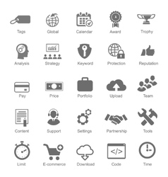 Set silhouetted black and white seo and internet vector