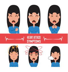Set woman heart attack symptoms vector
