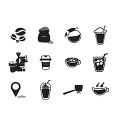 silhouettes coffee icon set vector image