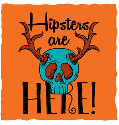 Skull with deer horns t-shirt label design vector