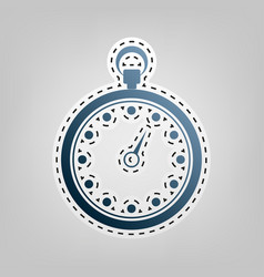 Stopwatch sign blue icon vector