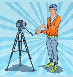 stylish guy vlogger recording video pop art vector image