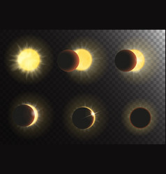 Sun eclipse different phases vector