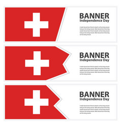 Switzerland flag banners collection independence vector