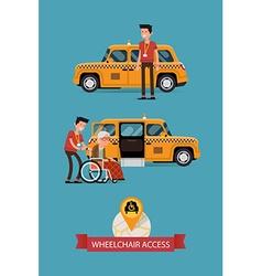Taxi with wheelchair access icon vector