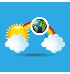 globe earth weather meteorology cloud rainbow vector image