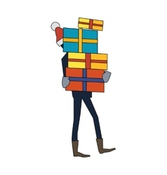 Man carrying gift boxes person in santas hat vector