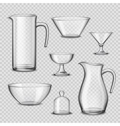 Realistic glassware kitchen utensils transparent vector