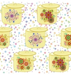 Kitchen Pan Seamless vector image