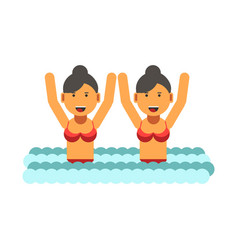 female twins in swimsuits with raised hands in vector image