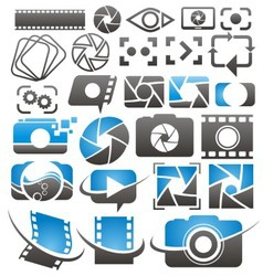 Set of camera icons symbols and logos vector