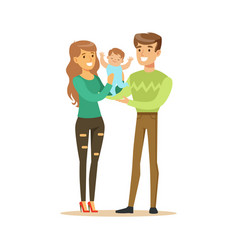 Happy smiling man woman and small baby standing vector