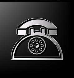 Retro telephone sign  gray 3d printed icon vector