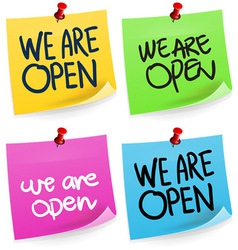 We Are Open Sticky Note vector image