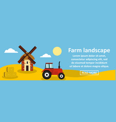 Farm landscape banner horizontal concept vector