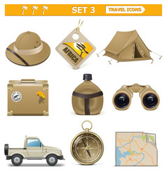 travel icons set 3 vector image