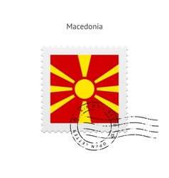 Macedonia flag postage stamp vector