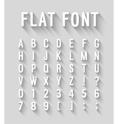 Flat font with long shadow effect vector image