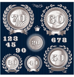 set retro signs for the anniversary vector image