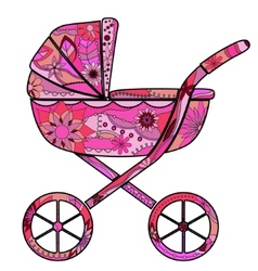 Girl baby carriage vector