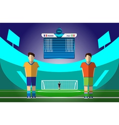 Soccer players on football stadium vector