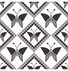Pattern geometric grey background with butterflies vector