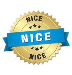 Nice round golden badge with blue ribbon vector