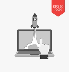 Rocket launch from laptop icon startup concept vector