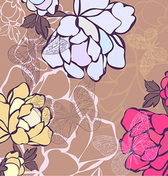A background in flowers and butterflies vector