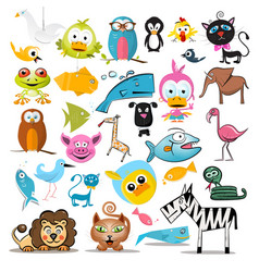 animals set animal collection isolated on white vector image