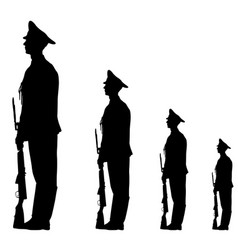black silhouette soldier is marching with arms on vector image vector image