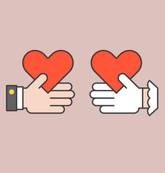 bridge and groom giving heart vector image vector image
