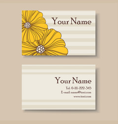 Business card with big yellow flowers vector