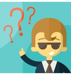 Business man on a question mark vector image vector image