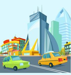 cartoon urban landscape with modern buildings vector image