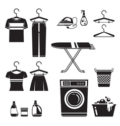 Cleaning laundry icons set monochrome vector