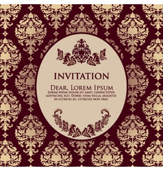 Damask Filigree Invitation Card vector image