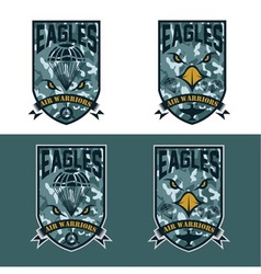 Eagles air warrriors army shields set design vector