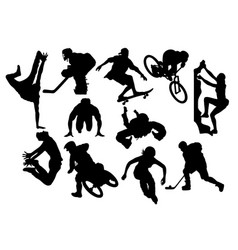extreme sports activity silhouettes vector image vector image