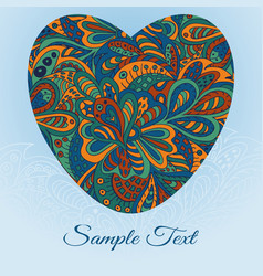 Floral doodle card heart ethnic pattern vector