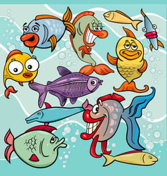 funny fish cartoon characters group vector image
