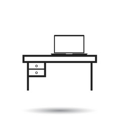 Furniture table with laptop computer icon table vector