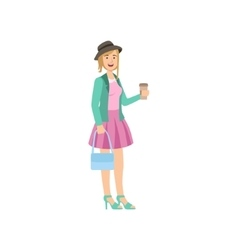 Girl In Pink Skirt Turquoise Jacket And Hat vector image
